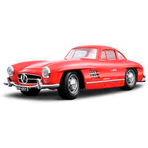 18-12047RED AUTO MERCEDES 300SL '54 GULLWING ESCALA 1:18 MINIATURA DIECAST BBURAGO CASANOVA SCALE MACHINES