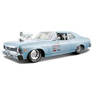 31331BLUE AUTO CHEVY NOVA SS '70 ALL STAR ESCALA 1:24 DIECAST MINIATURA CASANOVA SCALE MACHINES