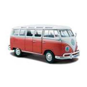 31956RED AUTO VOLKSWAGEN VAN SAMBA  ESCALA 1:24 MAISTO DIECAST MINIATURA CASANOVA SCALE MACHINES