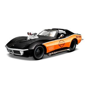 32193BLACK-ORANGE AUTO CORVETTE '70 - HARLEY GRAPHICS ESCALA 1:24 MAISTO DIECAST MINIATURA CASANOVA SCALE MACHINES