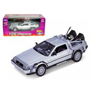 WE-22443SILVER AUTO DELOREAN BACK TO THE FUTURE  REPLICA DEL AUTO DE LA PELÍCULA VOLVER AL FUTURO ESCALA 1:24 DIECAST MINIATURA CASANOVA SCALE MACHINES