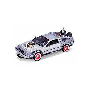 WE-22444SILVER AUTO DELOREAN BACK TO THE FUTURE III REPLICA DEL AUTO DE LA PELÍCULA VOLVER AL FUTURO III ESCALA 1:24 DIECAST MINIATURA CASANOVA SCALE MACHINES