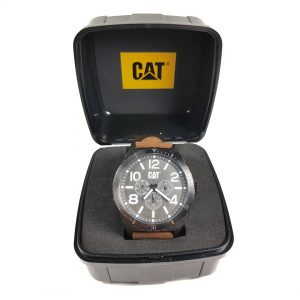 RELOJ CAT - GUN & WHITE DIAL / BROWN LEATHER STRAP
